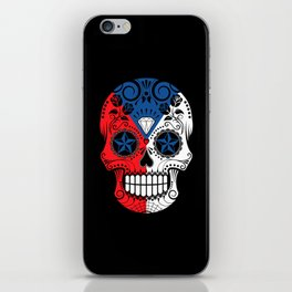 Sugar Skull with Roses and Flag of Czech Republic iPhone Skin