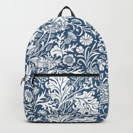 William Morris Navy Flower Field Pattern Backpack