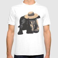 Rhino in Sun Hat  Mens Fitted Tee White MEDIUM
