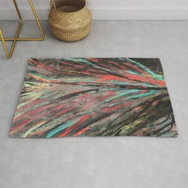Blue and Teal Abstract Painting Rug