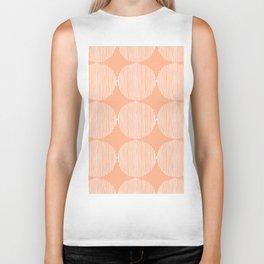 Peach white hand painted geometrical stripes polka dots Biker Tank