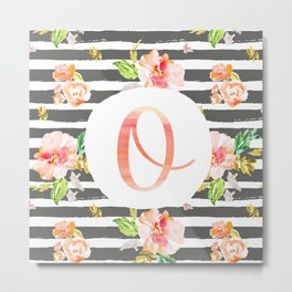 O botanical monogram. Letter initial with colorful flowers and gray stripes Metal Print