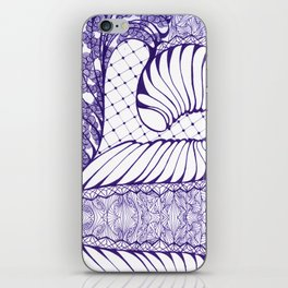 Blue Wash Art Deco Doodle Design iPhone Skin