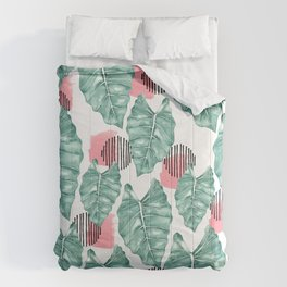Watercolor tropical leaves abstract Comforters