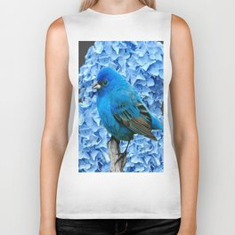 BLUE BIRD & BLUE HYDRANGEAS GREY ART Biker Tank