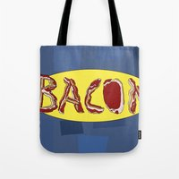 bacon Tote Bags featuring Bacon by creativecurran
