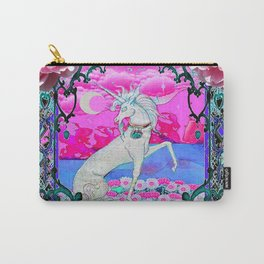 PEONY FLOWERS  & UNICORN FANTASY PURPLE  ART Carry-All Pouch