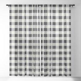 Black and Ivory Buffalo Check - more colors Sheer Curtain