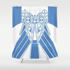 Power Wolf Blue Shower Curtain