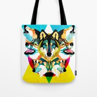 wolves Tote Bags featuring wolves by Alvaro Tapia Hidalgo