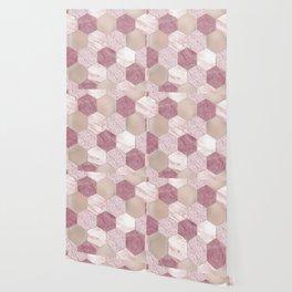 Carnation pink rose gold foil - marble hexagons Wallpaper