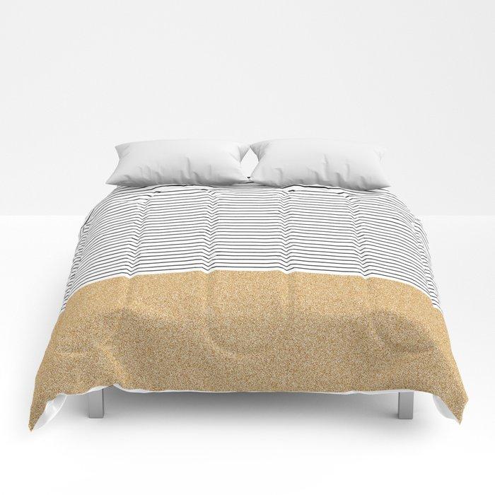 Minimal Gold Glitter Stripes Comforters