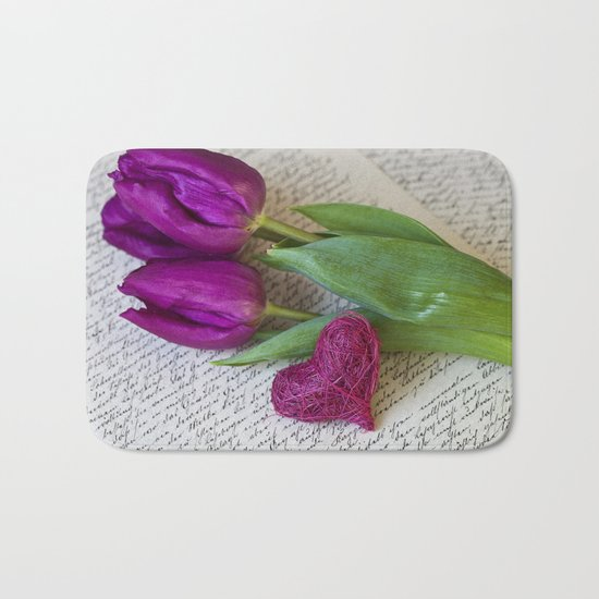 pink spring Tulips with heart Bath Mat