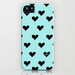 Retro Hearts Pattern Blue iPhone Case