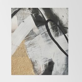 Armor [9]: a minimal abstract piece in black white and gold by Alyssa Hamilton Art Throw Blanket