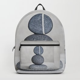 Zen cairn pebble stone balance grey Backpack