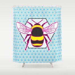 Geometric Bumblebee Shower Curtain