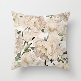 Peonies Pattern Throw Pillow