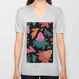Tropical Ginger Plants in Coral + Black Unisex V-Neck