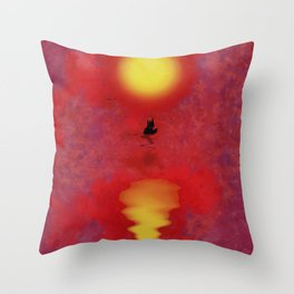 Sunset Ship Throw Pillow