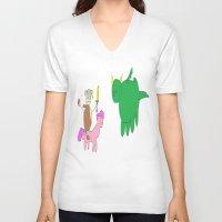 skyrim V-neck T-shirts featuring Skyrim by SuperSugoiAutism