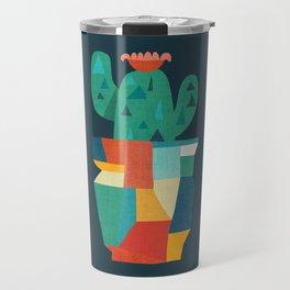 Blooming cactus in cracked pot Travel Mug
