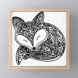 Black and White Mandala Fox Design Illustration Framed Mini Art Print