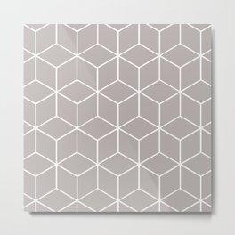 Cube Geometric 03 Grey Metal Print