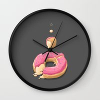 donut Wall Clocks featuring Donut by Fightstacy