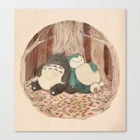 snorlax Canvas Prints featuring Best Friends Forevah by Najmah Salam