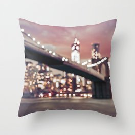 New York City Brooklyn Bridge Lights Throw Pillow