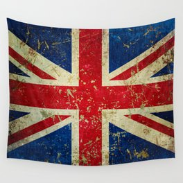Grunge Scratched Metal Union Jack / British Flag Wall Tapestry
