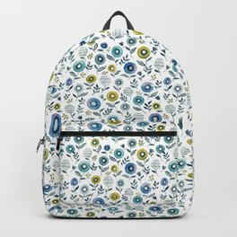 indigo blues floral pattern Backpack