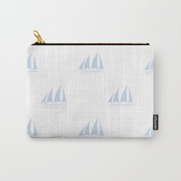 Pale Blue Sailboat Pattern Carry-All Pouch