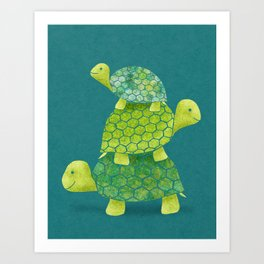 Turtle Stack Family in Teal and Lime Green Art Print