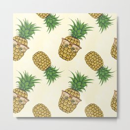 Pineapples with Sunglasses Hand Painted Metal Print