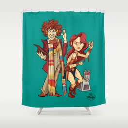 The Doctor, The Warrior, and K-9 Shower Curtain