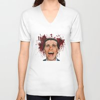 american psycho V-neck T-shirts featuring American Psycho by mMel