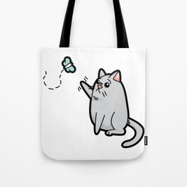 Fat Cat Trying to Get Butterfly Tote Bag
