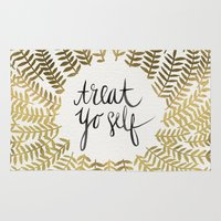 treat yo self Area & Throw Rugs featuring Treat Yo Self – Gold by Cat Coquillette
