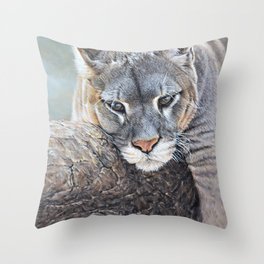 Just Chillin - Cougar Painting by Alan M Hunt Throw Pillow