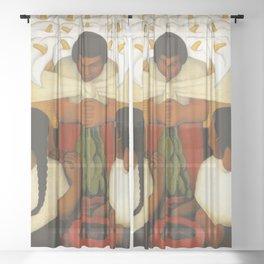 """Flower Festival"" by Diego Rivera Sheer Curtain"