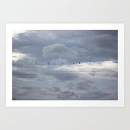 cords in clouds Art Print
