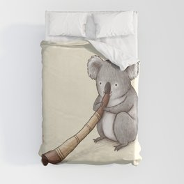 Koala Playing the Didgeridoo Duvet Cover