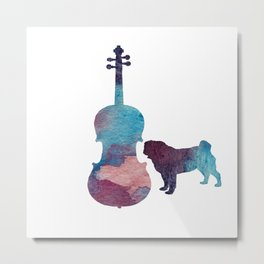 Viola pug art Metal Print