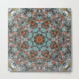 Autumn Berries -- Thanksgiving Bittersweet Vine Mandala Metal Print