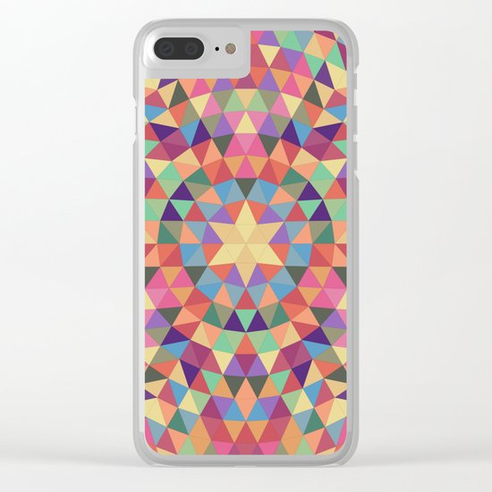 Happy triangle mandala Clear iPhone Case