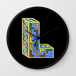 Letter L Filled With Little Ls Wall Clock