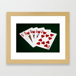 Poker Royal Flush Hearts Framed Art Print