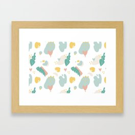 Pastel Collage Leaves Hearts and Shapes Framed Art Print